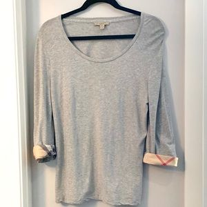 BURBERRY Grey Scoop Neck Long Sleeve Top